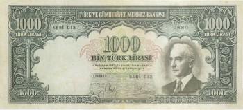İnönü resmi bulunan 1000 Türk Lirası