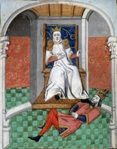 Alparslan, Malazgirt Savaşı sonrası Diyojen'i yere yatırıp ayağını boynunun üzerine koyarken. Bu, mağlup hükümdarlara karşı bütün Doğu'da ve Bizans saraylarında uygulanan bir adetti.
