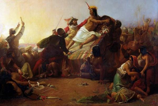 İnka İmparatoru Atahualpa, Pizarro tarafından tutsak edilirken