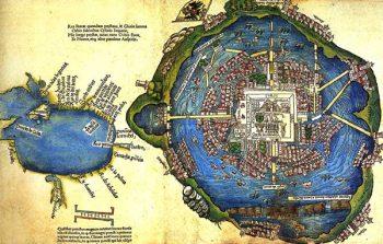 Aztek İmparatorluğu'nun başkenti Tenochtitlan,
